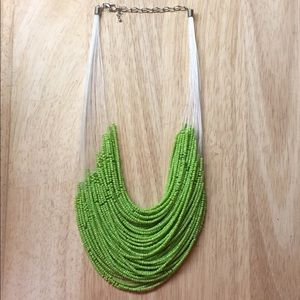 Lime Green and Red Beaded Necklaces.